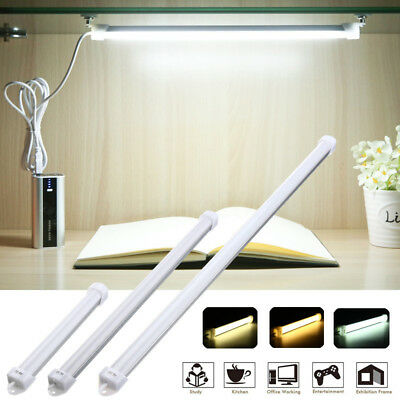 Portable USB LED Hard Strip Bar Light Tube Lamp Kitchen Under Cabinet w/ Switch