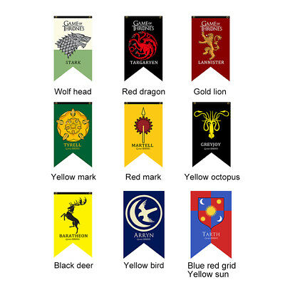 Harry Potter & Game of Thrones House Banner Flag Wall Hanging Drape Gryffindor