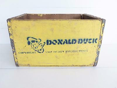 Donald Duck Soda Crate Vintage Walt Disney Productions Wooden Wisconsin