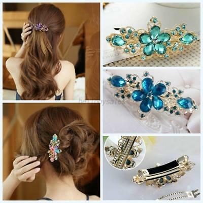 Women Crystal Rhinestone Flower Hairpin Hair Clip Barrette Headwear Jewelry Gift
