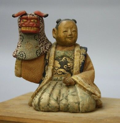 Kamo doll in the late Edo period Daimyo Shishi w/box kimekomi doll Made in JAPAN