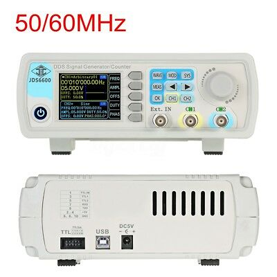 50/60MHz Digital DDS Dual-channel Signal Generator Source Frequency Meter
