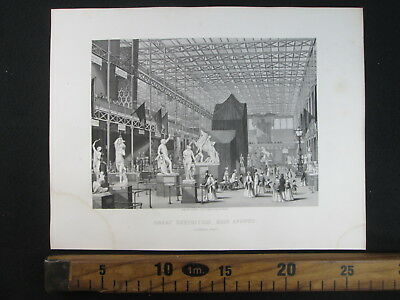 1861 Crystal Palace Exhibition London Esposizione Londra Antica Stampa D382