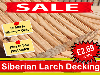 "Siberian Larch Hardwood Timber Decking 150mm x 25mm ""BEST DECKING ON THE MARKET"""