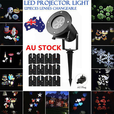 12 Patterns Moving Laser Landscape Projector LED Lights Outdoor Xmas Decor Lamp