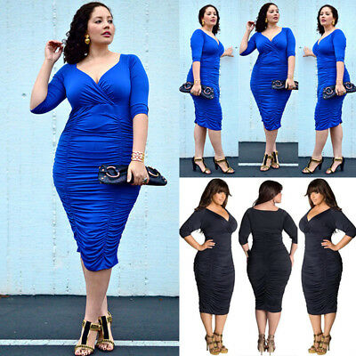 US STOCK Plus Size Summer Womens Bodycon Evening Party Cocktail Long Maxi Dress
