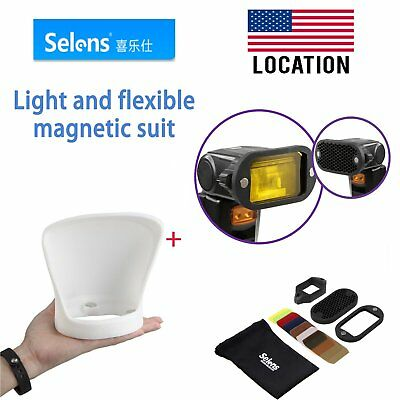 Selens Universal Magnetic Flash Modifier Diffuser Bounce + Filter Kit For Camera