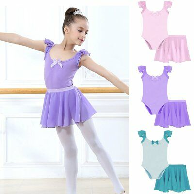 Kids Baby Girls Gymnastics Dancewear Ballet Leotard+Tutu Skirt Dress Outfits Set