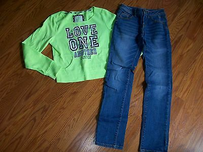 JUSTICE Girls Outfit Neon Green Long-Sleeve Top & Denim Jeans size 12 12 Slim