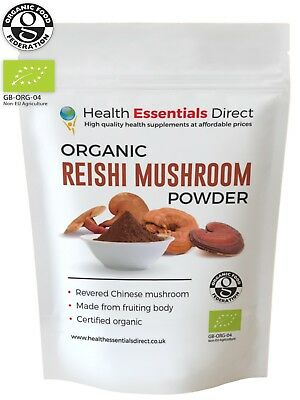 Organic Reishi Mushroom Powder (Log Grown, Immune System, Longevity) Choose Size