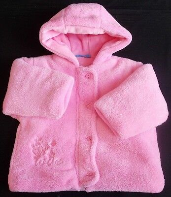 Baby C girl coat jacket fluffy pink hooded 3-6 month