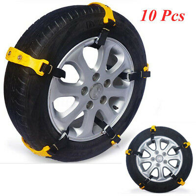 10x Car Snow Anti-skid TPU Chains Belt Tendon Vehicles For 185 to 225 Tyre Wheel