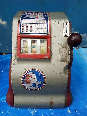 Rare Antique Liberty 5 cent Trade Stimulator / Slot Machine. Original Paint