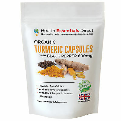 Organic Turmeric Capsules (Curcumin) + Black Pepper Strong 600mg  - Choose Size: