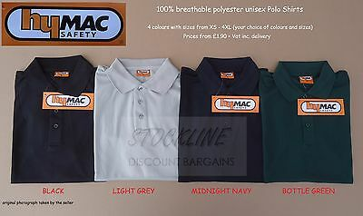 240 HYMAC Polo Shirts HYM751. 4 colours, XS - 4XL (you choose sizes and colours)