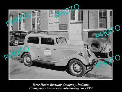 Old Historic Photo Of Terre Haute Brewery Indiana Champagne Velvet Beer Car 1950
