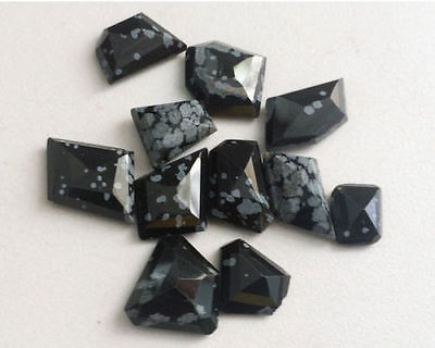 5 Pcs Snowflake Obsidian Cabochons, Loose Snowflake Obsidian Gemstones