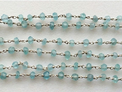 """12"""" Faceted Aquamarine Rondelle Beads 925 Silver Wire Wrapped Beaded Chain"""
