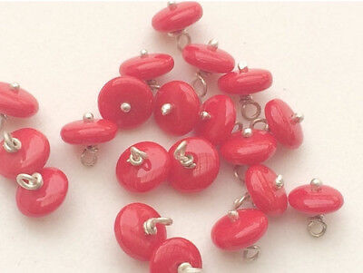 10 Pcs Coral Rondelle Beads, 925 Silver Wire Wrapped Gemstone Beads, Loose Coral