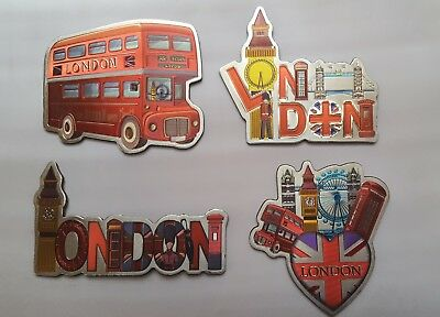 3D Metalic Fridge Magnets Set Of 4 London Icons Souvenir Free Uk Postage