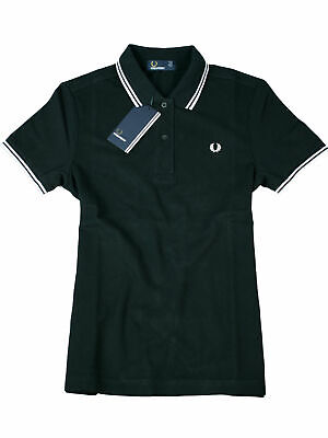 Fred Perry Damen Polo Schwarz / Weiß G3600 321 Twin Tipped #7218
