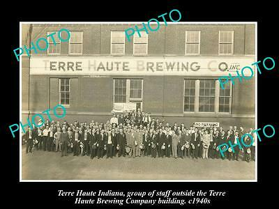 OLD LARGE HISTORIC PHOTO OF TERRE HAUTE BREWERY INDIANA, FACTORY WORKERS c1940