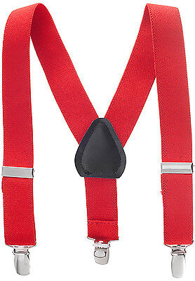 "New 1"" Red Suspenders Baby, Toddlers, Kids, Boys Elastic Adjustable - Made in US"