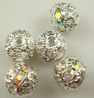 8mm 5pcs Czech white AB Crystal Rhinestone Silver Rondelle Spacer Beads t1s