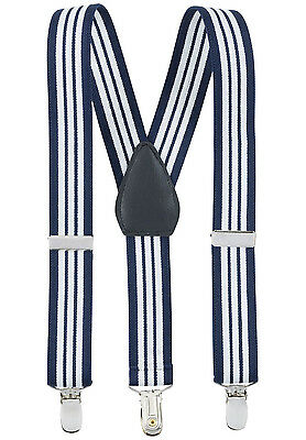 """New 1"""" Navy Striped Suspenders Baby, Kids, Boys Elastic Adjustable - Made in USA"""