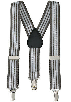 "New 1"" Grey Striped Suspenders Baby, Kids, Boys Elastic Adjustable - Made in USA"