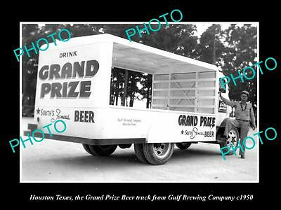 OLD LARGE HISTORIC PHOTO OF HOUSTON TEXAS, THE GRAND PRIZE BEER TRUCK c1950