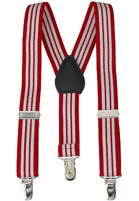 "New 1"" Red Striped Suspenders Baby, Kids, Boys Elastic Adjustable - Made in USA"