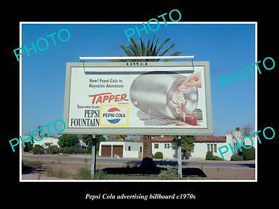 OLD LARGE HISTORIC PHOTO OF PEPSI COLA DRINK ADVERTISING BILLBOARD c1970s 8