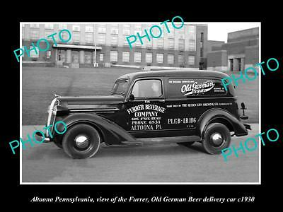 OLD LARGE HISTORIC PHOTO OF ALTOONA PENNSYLVANIA, THE OLD GERMAN BEER CAR c1930