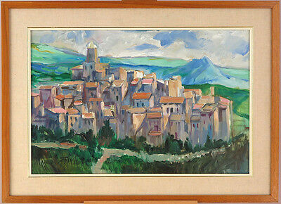 Vintage c1970's Oil on Masonite Abeto Umbria Italy(?) Illegibly Signed Landscape