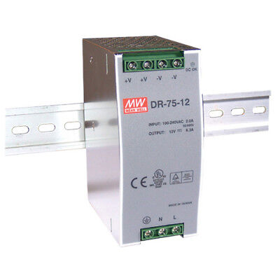 Mean Well DR-75-24 75W DIN Rail 85-264VAC to 24V DC 3.2A Power Supply