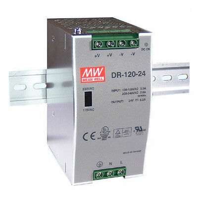 Mean Well DR-120-48 120W 176-264VAC to 48V DC 2.5A DIN Rail Switchmode PSU