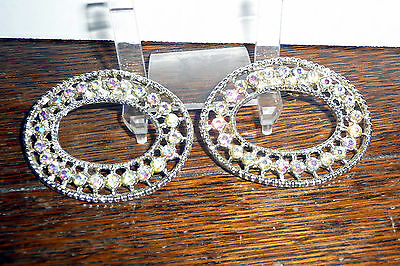 Vintage Pair Oval Moonstone Rhinestone Shoe Buckles Clips Delicate Details  *WOW