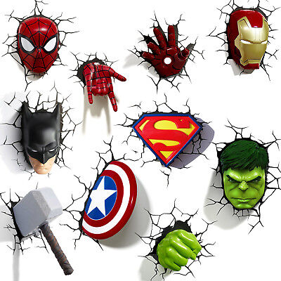 Marvel, DC Heroes 3D Deco LED Wall Night Light: Iron Man, Captain America & More