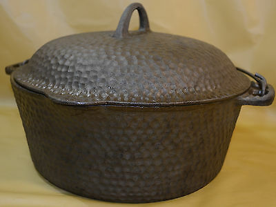 "Antique Hammered Cast Iron Dutch Oven No 88 10 3/8"" Diameter Wire Bail Handle"