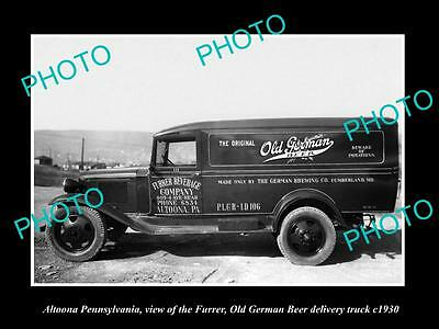 OLD LARGE HISTORIC PHOTO OF ALTOONA PENNSYLVANIA, OLD GERMAN BEER TRUCK c1930 1