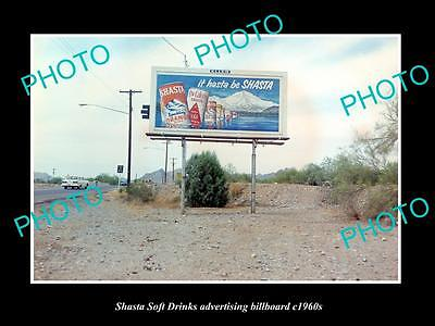 OLD LARGE HISTORIC PHOTO OF SHASTA SOFT DRINKS ADVERTISING BILLBOARD c1960s 1