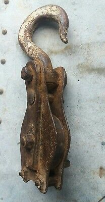 vintage Industrial factory pulley block old block and tackle pulley hoist