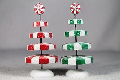 Dept 56 Village Acc. 'Peppermint Christmas Trees' Set Of 2 #4047577 New In Box