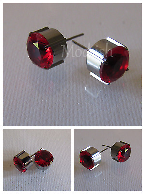 Titanium 4 Prong Round Fine Earrings w/Stone Red Cz