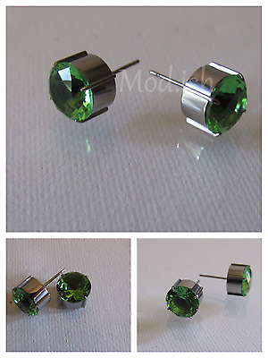Titanium 4 Prong Round Fine Earrings w/Stone Green