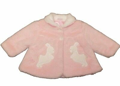 Adorable Baby Girls Romany Style Pink Jacket Faux Fur Coat Rabbit Design AW'17