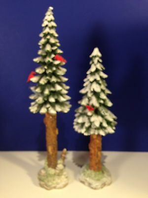 Dept 56 Heritage VILLAGE TOWERING PINES Trees Set of 2 w/ box Combine Shipping!
