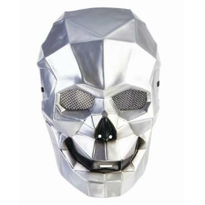 Cyborg Skull Mask Full Front Face Silver Mesh Drone Accessory Costume Halloween