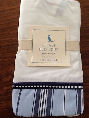 "Pottery Barn Kids Navy Blue Stripe Nautical Chase White Bed Skirt Crib 11"" Drop"